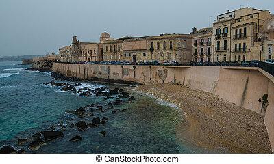 Mediterranean coast in Syracuse, Sicily, Italy