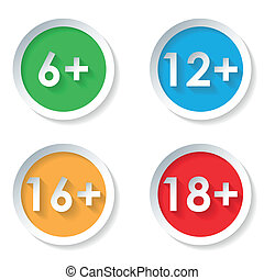 Set of age restriction flat icons - Vector set icons of age...