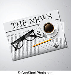 Cup of coffee, newspaper and glasses. Detailed vector...