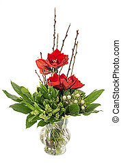 glass vase with red amaryllis - glass vase with red...
