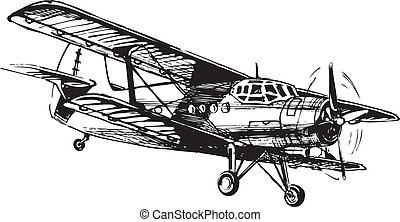 Byplan - Vector drawing of airplane stylized as engraving....