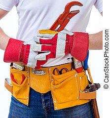 worker with tools belt