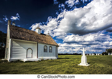Rural Church - Small white church in the rural country of...