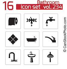Vector black bathroom icons set on white background