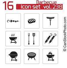Vector black barbecue icons set on white background