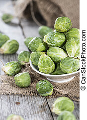 Raw Brussel Sprouts - Portion of raw Brussel Sprouts on...