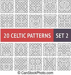 Celtic Patterns Set - Set of 20 black and white Celtic...