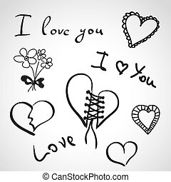 Hand drawn icons - i love you