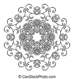 Sketch floral ornament - Sketch style round floral ornament
