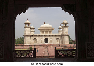 Mughal Architecture - Ornate white marble Mughal tomb...