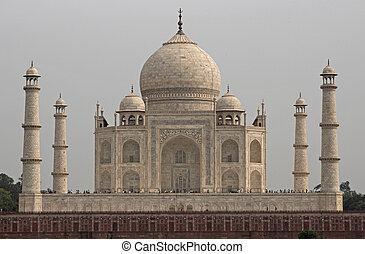 Taj Mahal - Taj Mahal. White marble tomb set on raised...