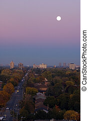 Street - Moon above residential area of Toronto
