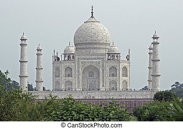 Taj Mahal from Behind - Taj Mahal. White marble tomb set on...