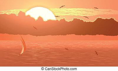 Sailboat against orange sunset - Vector horizontal...