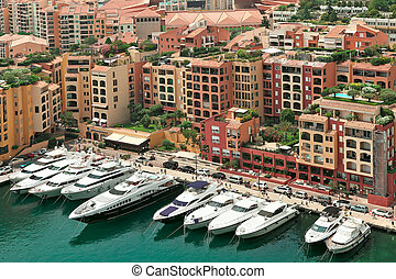 Yachts and modern buildings in Monte Carlo, Monaco. - Marina...