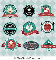 Vintage restaurant labels