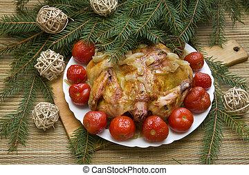 festlicher, Einstellung, abendessen, Tisch, huhn, gebacken, Weihnachten