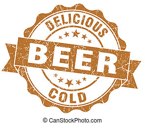 Delicious cold beer brown grunge vintage seal