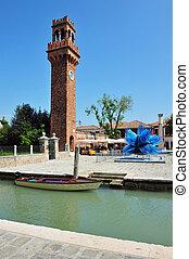 Murano Island in the Venetian Lagoon, Italy - MURANO, ITA -...