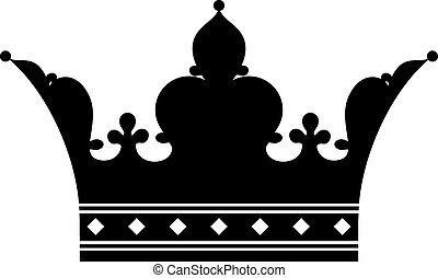 Crown (Silhouette) - Vector crown over white background...