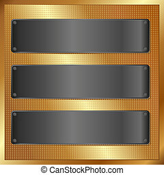 black banners - golden panel with black banners
