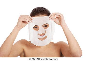 hermoso, mujer, Colágeno, máscara