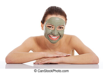 Beautifu toplessl woman with facial mask. - Beautifu...