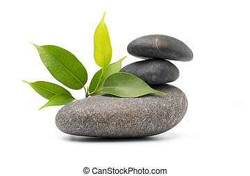 Spa stones. - Spa stones and pink orchid isolated...