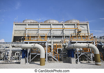 Cooling tower in day time - Cooling tower in industrial...