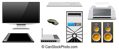 Computer peripheral devices are isolated on a white background.