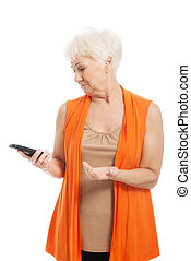An old lady using mobile phone Isolated on white