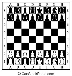 Chess board with chess pieces. Vector illustration.