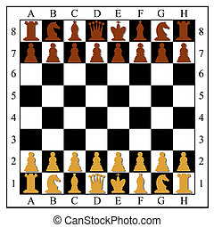 Chess board with chess pieces Vector illustration