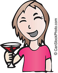 Smiling girl with drink