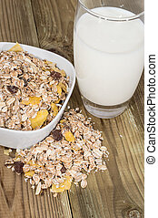 Mixed Muesli with a glass of Milk
