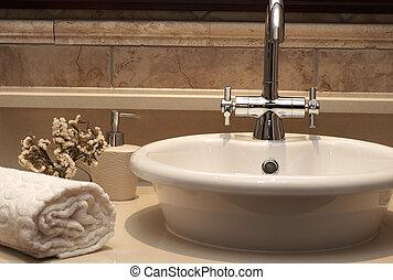 hermoso, fregadero, cuarto de baño