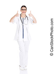 Young beautiful doctor, nurse with stethoscope. - Young...