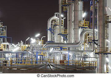 Chemical industrial plant in night time - Night scene of...