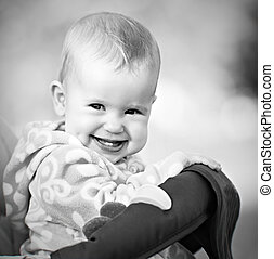 happy baby laughing and smiling monochrome - a happy baby...