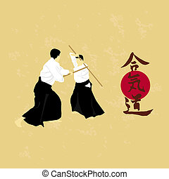 Aikido - illustration, men are engaged in aikido on a light...
