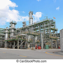 Refinery tower in industrial plant - Chemical refinery tower...