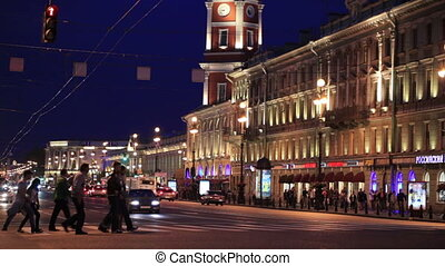 Nevsky Avenue at night - Nevsky Prospect at night: people...