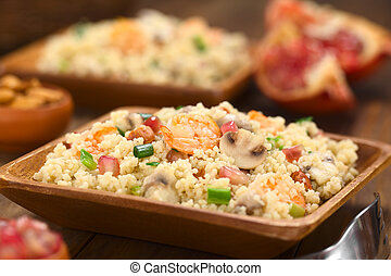 Couscous with Shrimp, Mushroom, Almond and Pomegranate -...