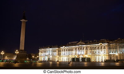Time lapse  of people walking on Palace Square.