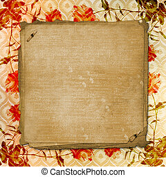 Alienated gold paper background for announcement with rose