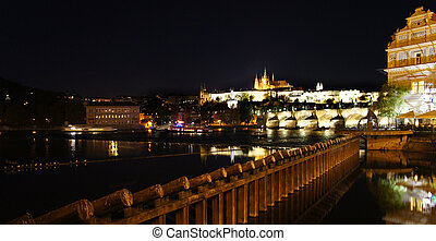 Prague Castle and Charles bridge in the night, Czech...