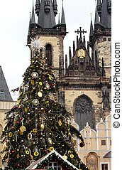 Tyn church in Prague, Czech republic - Christmas Old Town...