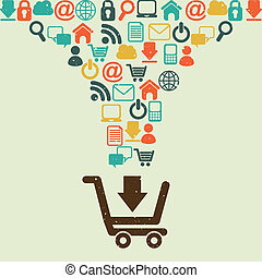 shopping design - shopping design over beige background...