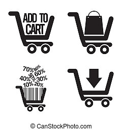 add to cart over gray background. vector illustration