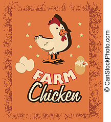 farm fresh label over rustic  background vector illustration